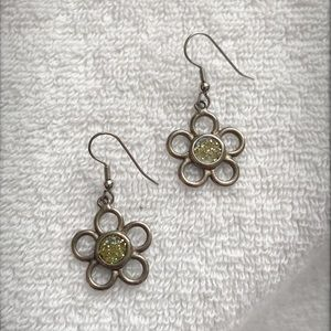 Silver Flower Earrings with Iridescent Center